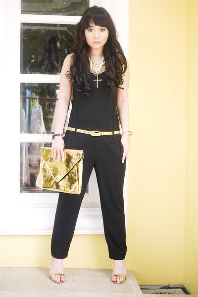 gold Gold Dot bag - black Topshop top - black Zara romper - gold versace belt