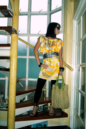 yellow Ilaya Couture blouse - silver Nine West shoes - black Zara tights