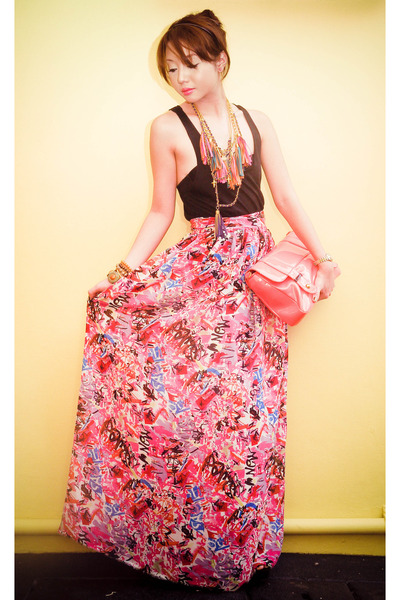 salmon patent sling Audrey bags from SM bag - hot pink Moonshine skirt