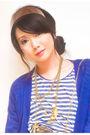 Blue-h-m-cardigan-blue-forever-21-t-shirt-white-online-skirt-brown-random-