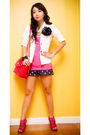 White-zara-blazer-pink-topshop-top-blue-glitterati-shorts-blue-diy-accesso