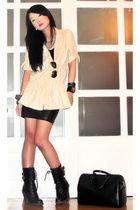 beige Glitterati blouse - black combat boots Random find from bazaar boots