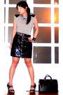 Gray-random-top-black-glitterati-skirt-black-glitterati-belt-black-online-