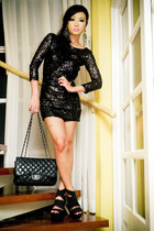 black Glitterati dress - black 255 Chanel bag - black spiked heel DAS heels