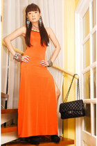 black Gold Dot boots - orange Glitterati dress - black 255 Chanel purse