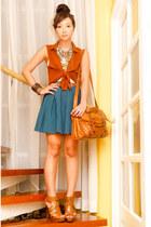 Zara heels - satchel Topshop bag - Forever 21 skirt - Topshop top