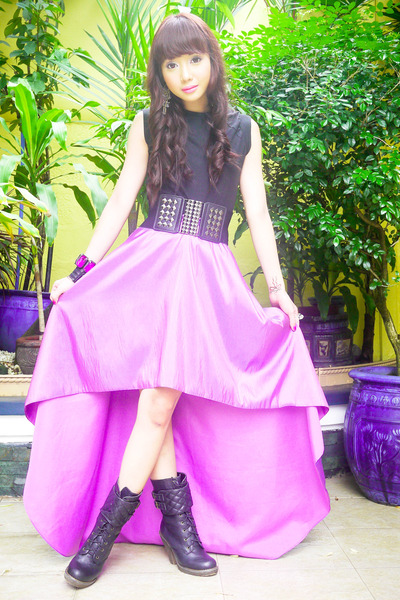 amethyst Glitterati skirt - black combat tieup from Rockwell bazaar boots