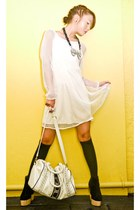 black Soule Phenomenon boots - ivory Kookies Vintage Store dress - white random