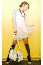 black Soule Phenomenon boots - ivory Kookies Vintage Store dress - white random