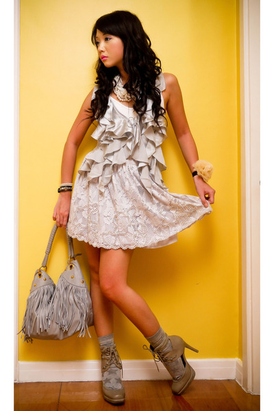 silver ruffled satin Topshop vest - gray Topshop shoes - gray fringe bag