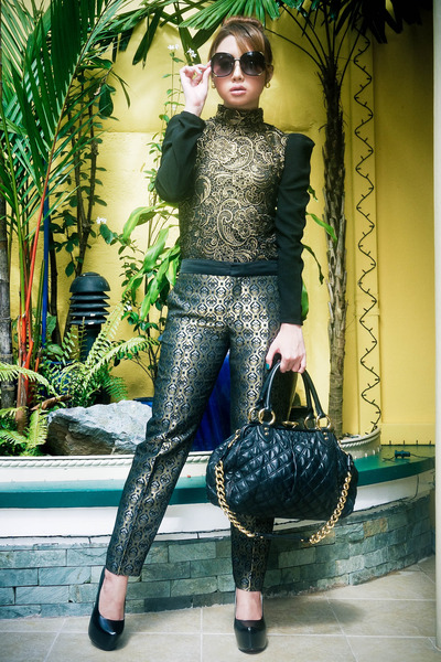 gold brocade Zara pants