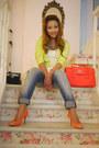 Chartreuse-forever-21-blazer-coral-loewe-bag-coral-suiteblanco-pumps
