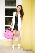 white Alexander Wang shoes - hot pink Celine bag - white suit Zara vest
