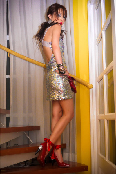 silver Glitterati dress - red Lanvin x H&M heels - red bag - silver earrings