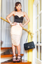 black Miss D heels - black 255 Chanel bag - peach Glitterati skirt