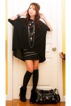 black Topshop boots - dark gray random bag - black knee high knit Marks and Spen