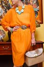 Orange-love-vintage-dress-beige-vintage-from-mom-belt-blue-vida-jewelries-ne