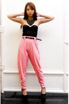 bubble gum Love Vintage pants - black Givenchy bag - black vintage belt