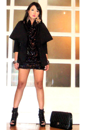 black Glitterati dress - black online boots - black Chanel purse - silver Foreve