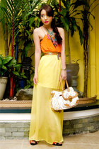 yellow maxi chiffon Hugo Boss skirt - magenta fringe Levis necklace
