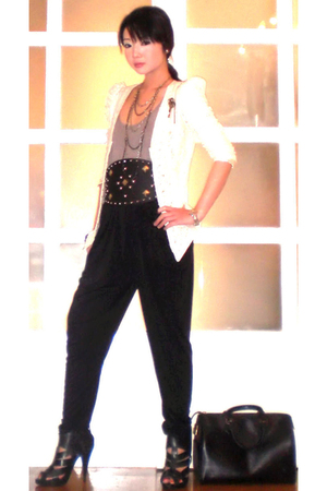 white random blazer - gray Topshop top - black Glitterati pants - black Glittera