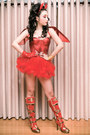 Red-amiclub-wear-boots-red-glitterati-top-red-glitterati-skirt