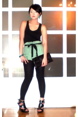 green Topshop skirt - black Anthem shoes - black Zara leggings