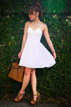 camel spiked Gifts Ahoy heels - white eyelet bustier With Love dress