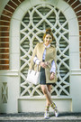 White-celine-bag-black-glitterati-skirt-white-mango-top-camel-romwe-cape