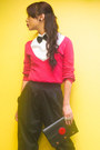 Black-louis-vuitton-bag-hot-pink-sweater-zara-sweater