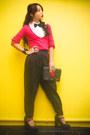 Hot-pink-sweater-zara-sweater-black-louis-vuitton-bag