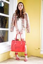 cream Zara dress - light orange Zara jacket - red Zara heels - red Celine belt