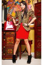 red Moonshine skirt - black suede platform Topshop boots