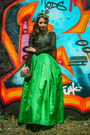 Black-zara-sweater-green-glitterati-skirt