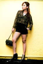 army green Zara blouse - black armadillo DAS boots - black 255 Chanel bag