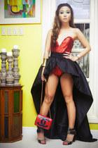 black Glitterati skirt - ruby red Chanel bag - ruby red Glitterati bodysuit