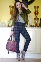 crimson Zara pants - army green Wisdom jacket - heather gray S&H heels