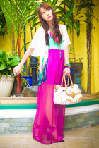 magenta Glitterati skirt - white Louis Vuitton bag - white Glitterati cape