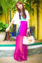 magenta Glitterati skirt - white Louis Vuitton bag - white Glitterati cape