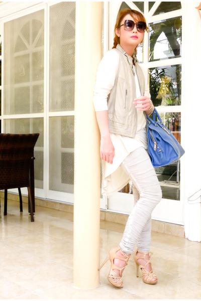 Topshop leggings - Zara shirt - cabas chyc Yves Saint Laurent bag