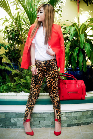 red Mango blazer - red Celine bag - dark brown Zara pants - red Zara heels