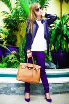 blue Zara shoes - blue Mango pants - gold Ruckus necklace - beige Zara top
