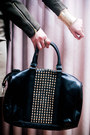 Dark-green-utilitarian-mango-jacket-black-studded-mango-bag