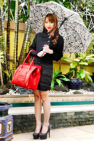 black Zara coat - red Celine bag - black Zara blouse