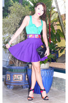 black Salvatore Ferragamo purse - hot pink Zara heels - bubble gum vintage belt
