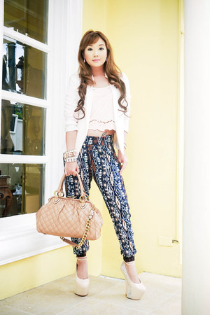 neutral Mango blazer - neutral Marc Jacobs bag - navy Bershka pants