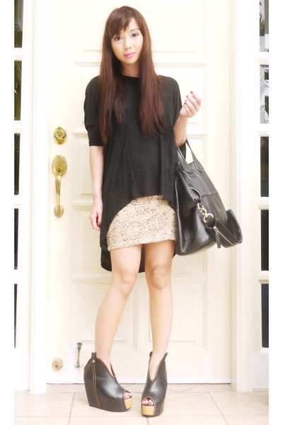 tan H M skirt - black nightingale Givenchy bag 2ddaf6c88f502