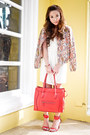Cream-zara-dress-light-orange-zara-jacket-red-zara-heels-red-celine-belt