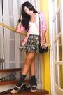 Pink-glitterati-blazer-white-topshop-top-gray-topshop-skirt-gray-marks-and