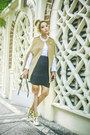 White-celine-bag-black-glitterati-skirt-white-mango-top-camel-romwe-cape